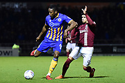 Northampton Town defender Ash Taylor (6) under pressure from Northampton Town striker (on loan from Everton) Boris Mathis (9) during the EFL Sky Bet League 1 match between Northampton Town and Shrewsbury Town at Sixfields Stadium, Northampton, England on 20 March 2018. Picture by Dennis Goodwin.