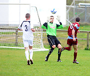 Cobh Ramblers' Alan O'Flynn scoring against Galway United's Conor  Winn, Cappa Park in Knocknacarra, Galway. Photo:Andrew Downes.