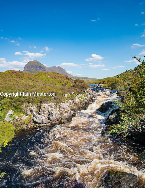 View of Suilven mountain from River Kirkaig in Assynt , Sutherland,  Highland, Scotland, United Kingdom