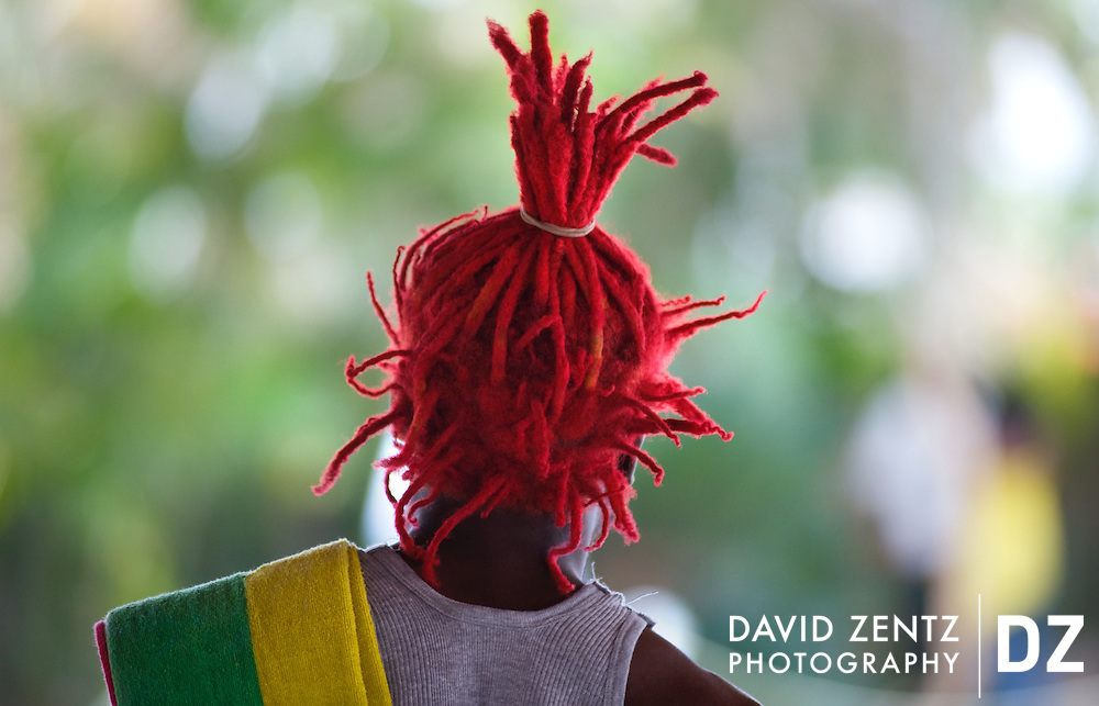 Koze Kreyol co-founder, Captain Kirk, sports bright red dreadlocks at a reggae festival in Port-au-Prince, Haiti on July 20, 2008.
