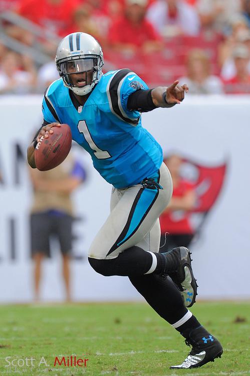 Carolina Panthers quarterback Cam Newton (1) runs upfield against the Tampa Bay Buccaneers  at Raymond James Stadium  on September 9, 2012 in Tampa, Florida.  The Bucs won 16-10..©2012 Scott A. Miller...