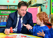 © Licensed to London News Pictures. 02/09/2013. Hammersmith, UK . Making a painting with Alice. The Deputy Prime Minister, Nick Clegg, gives a speech on making Britain fit for modern families, including free childcare for two-year-olds. The government's two-year-old offer starts in September (15 hours per week of free childcare for those from the 20% most disadvantaged families, based on Free School Meals criteria). The Deputy Prime Minister set out how the offer is being extended from September 2014. . Photo credit : Stephen Simpson/LNP