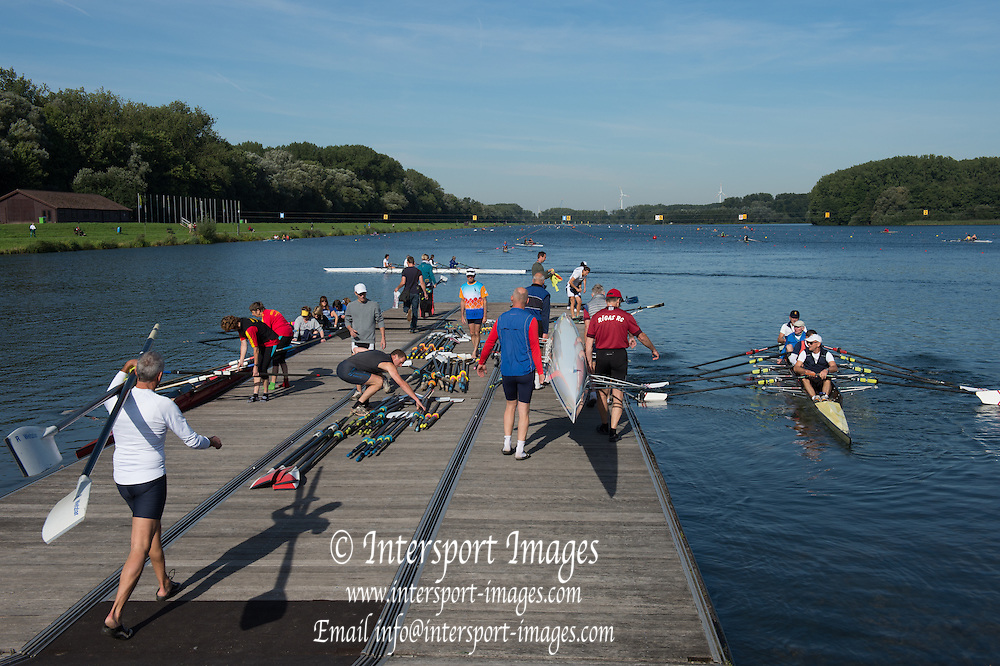 Hazewinkel, BELGIUM.  General Views of the &quot;Rowing Lake Course&quot; - &quot;Boating Storage/Racking&quot; &quot;Docking and Embarkation points&quot; , Rigging, Equipment.   2015 FISA World Masters Championships, <br /> <br /> Thursday  10/09/2015  [Mandatory Credit. Peter SPURRIER/Intersport Images].