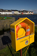Samaritans lifebuoy on the Claddagh, an area close to the centre of Galway city, where the Corrib River meets Galway Bay.