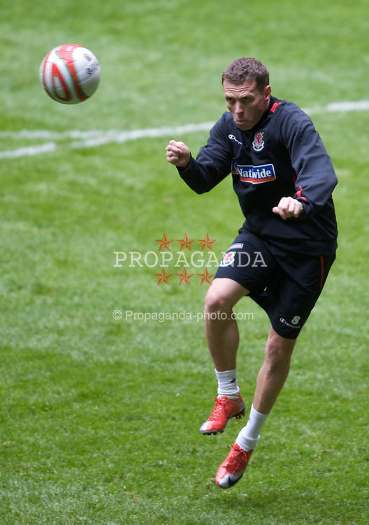 CARDIFF, WALES - Thursday, March 26, 2009: Wales' captain Craig Bellamy during training at the Millennium Stadium ahead of the 2010 FIFA World Cup Qualifying Group 4 match against Finland. (Pic by David Rawcliffe/Propaganda)