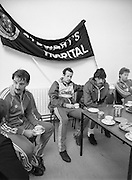 Ireland Soccer Team Training.1983.14.11.1983.11.14.1983.14th November 1983..The Ireland Soccer team trained, for the forthcoming match against Malta, at Stewarts Hospital,Palmerstown Dublin..Mark Lawrenson looks in thoughtful mode as the players have their tea.