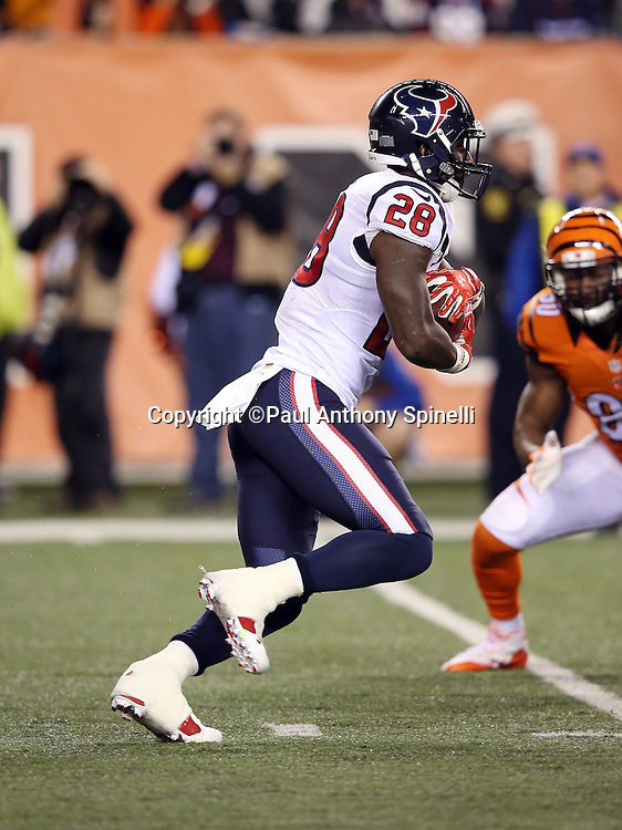 Houston Texans running back Alfred Blue (28) runs the ball in the first quarter during the 2015 week 10 regular season NFL football game against the Cincinnati Bengals on Monday, Nov. 16, 2015 in Cincinnati. The Texans won the game 10-6. (©Paul Anthony Spinelli)
