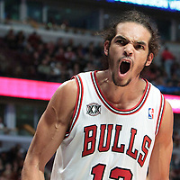 30 October 2010: Chicago Bulls Joakim Noah reacts after scoring on an offensive rebound during the Chicago Bulls 101-91 victory over the Detroit Pistons at the United Center, in Chicago, Illinois, USA.