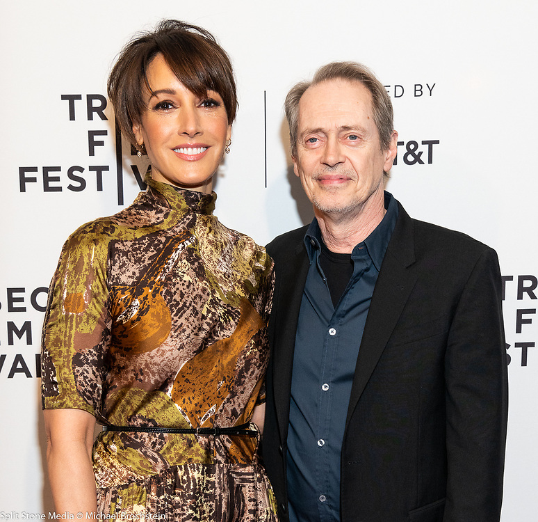 Jennifer Beals and Steve Buscemi at the Tribeca Film Festival red carpet arrivals in New York City on April 24, 2018