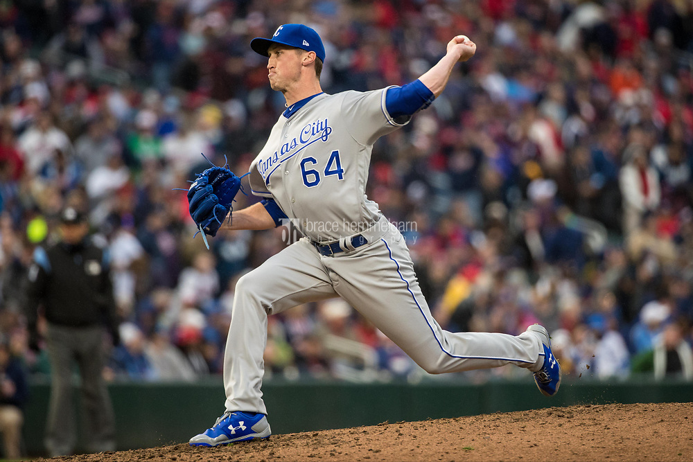 MINNEAPOLIS, MN- APRIL 3: Matt Strahm #64 of the Kansas City Royals pitches against the Minnesota Twins on April 3, 2017 at Target Field in Minneapolis, Minnesota. The Twins defeated the Royals 7-1. (Photo by Brace Hemmelgarn) *** Local Caption *** Matt Strahm