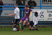 Rob Dickie and James HUrst during the Vanarama National League match between Guiseley  and Cheltenham Town at Nethermoor Park, Guiseley, United Kingdom on 9 April 2016. Photo by Antony Thompson.