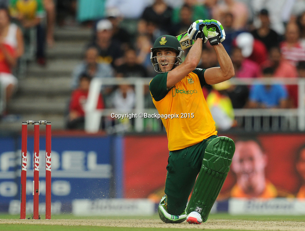 Faf Du Pleases of South Africa during the 2015 KFC T20 International Series match between South Africa and West Indies at Wanderers, Johannesburg on the 11 January 2015  ©Muzi Ntombela/BackpagePix