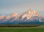 Spring sunrise light on the Tetons, Grand Teton National Park,Wyoming