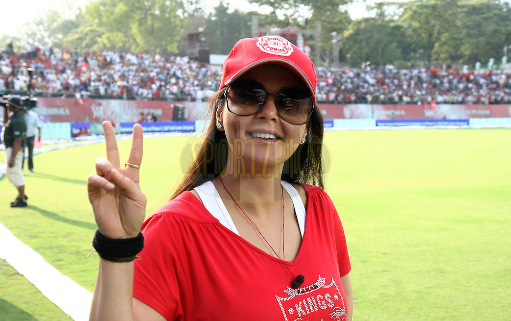 Kings XI Punjab owner Preity Zinta during match 60 of the Indian Premier League ( IPL ) Season 4 between the Kings XI Punjab and the Delhi Daredevils held at the The HPCA Stadium in Dharamsala, Himachal Pradesh, India on the 15th May 2011..Photo by Money Sharma/BCCI/SPORTZPICS