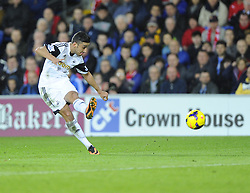 Swansea City's Neil Taylor see's his shot blocked - Photo mandatory by-line: Joe Meredith/JMP - Tel: Mobile: 07966 386802 03/11/2013 - SPORT - FOOTBALL - The Cardiff City Stadium - Cardiff - Cardiff City v Swansea City - Barclays Premier League