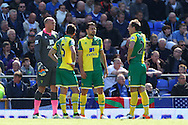 The debate stills goes on over Everton's 1st goal between John Ruddy of Norwich, Ivo Pinto of Norwich, Russell Martin of Norwich and Ryan Bennett of Norwich during the Barclays Premier League match at Goodison Park, Liverpool<br /> Picture by Paul Chesterton/Focus Images Ltd +44 7904 640267<br /> 15/05/2016