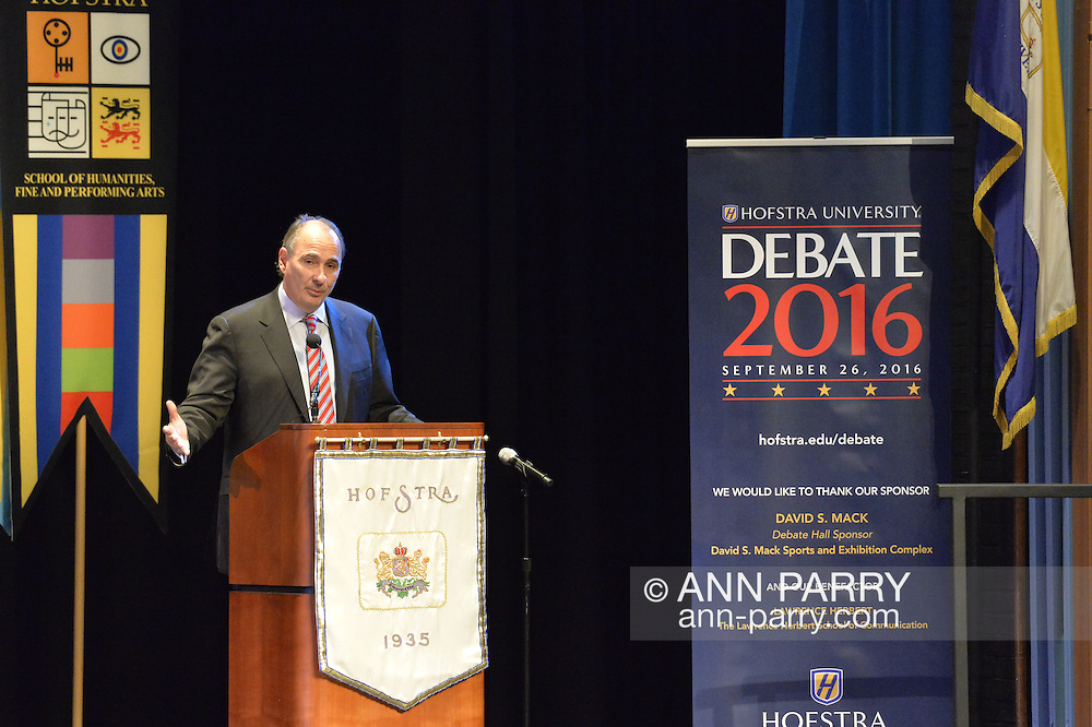 Hempstead, New York, USA. September 13, 2016. DAVID AXELROD, CNN Senior Political Commentator and Democratic strategist who served as Obama Senior Advisor, is the Signature Debate Speaker on The Evolving Media and Political Landscape, at Hofstra University, which will host the first Presidential Debate, between H.R. Clinton and D. J. Trump, scheduled for later that month on September 26. Hofstra is first university ever selected for 3 consecutive U.S. presidential debates.