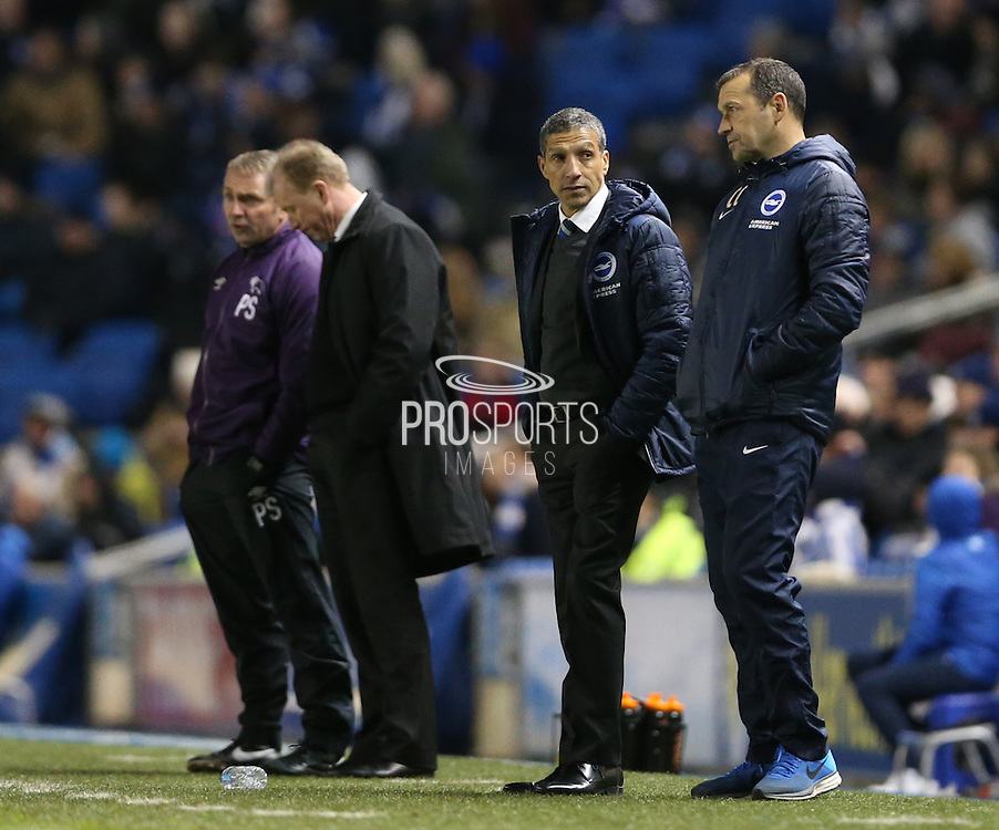 Brighton manager Chris Hughton during the Sky Bet Championship match between Brighton and Hove Albion and Derby County at the American Express Community Stadium, Brighton and Hove, England on 3 March 2015.