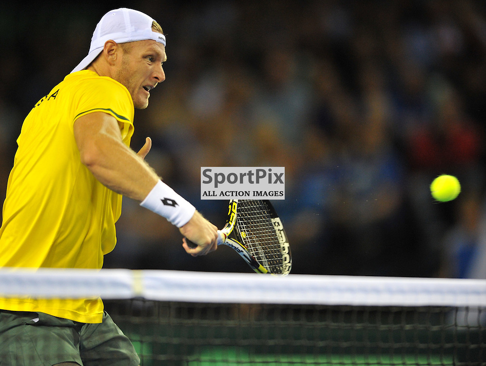 Sam Groth in action during the doubles rubber between Great Britain v Australia, Semi Finals,  Aegeon Davis Cup by BNP Paribas, Saturday 19 September 2015 (c) Angie Isac | SportPix.org.uk