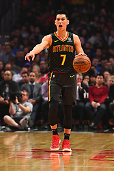 January 28, 2019 - Los Angeles, CA, U.S. - LOS ANGELES, CA - JANUARY 28: Atlanta Hawks Guard Jeremy Lin (7) brings the ball up the court during a NBA game between the Atlanta Hawks and the Los Angeles Clippers on January 28, 2019 at STAPLES Center in Los Angeles, CA. (Photo by Brian Rothmuller/Icon Sportswire) (Credit Image: © Brian Rothmuller/Icon SMI via ZUMA Press)