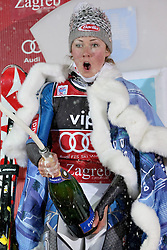 04.01.2013, Crveni Spust, Zagreb, AUT, FIS Ski Alpin Weltcup, Slalom, Damen, Podium, im Bild Mikaela Shiffrin (USA, Platz 1) // 1st place Mikaela Shiffrin of the USA celebrate on podium of the ladies Slalom of the FIS ski alpine world cup at Crveni Spust course in Zagreb, Croatia on 2013/01/04. EXPA Pictures © 2013, PhotoCredit: EXPA/ Pixsell/ Marko Prpic..***** ATTENTION - for AUT, SLO, SUI, ITA, FRA only *****