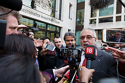 © Licensed to London News Pictures. 10/12/2018. London, UK.  Entrepreneur, Vijay Mallya leaves Westminster Magistrates Court after a judge ruled that he should be extradited to India in connection with allegations of fraud. Photo credit: Vickie Flores/LNP