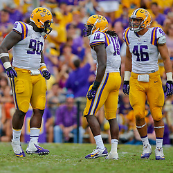 Oct 12, 2013; Baton Rouge, LA, USA; LSU Tigers defensive tackle Anthony Johnson (90) celebrates with linebacker Lamin Barrow (18) and defensive lineman Tashawn Bower (46) during the second half of a game against the Florida Gators at Tiger Stadium. LSU defeated Florida 17-6. Mandatory Credit: Derick E. Hingle-USA TODAY Sports