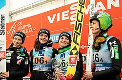 Second placed team of Slovenia: Nika Kriznar, Jerneja Brecl, Spela Rogelj and Ursa Bogataj celebrate during Trophy ceremony after the Team Competition at Day 2 of World Cup Ski Jumping Ladies Ljubno 2019, on February 9, 2019 in Ljubno ob Savinji, Slovenia. Photo by Matic Ritonja / Sportida