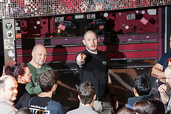 Tommy Blom takes charge. IKMS 'In The Club' seminar with KMG Global Team Instructor and Expert Level 5, Tommy Blom, at the Buff Club in Glasgow's City Centre. Bringing Krav Maga training out with the confines of the gym into a real nightclub/bar.<br /> © Michael Schofield.