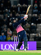 Joe Root of England plays an attacking shot during the One Day International match between England and West Indies at the Ageas Bowl, Southampton, United Kingdom on 29 September 2017. Photo by Graham Hunt.