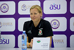 ASTANA, KAZAKHSTAN - Sunday, September 17, 2017: Wales' manager Jayne Ludlow during a post-match press conference following the 1-0 victory over Kazakhstan during the FIFA Women's World Cup 2019 Qualifying Round Group 1 match between Kazakhstan and Wales at the Astana Arena. (Pic by David Rawcliffe/Propaganda)