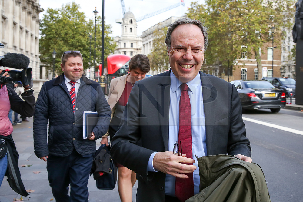 © Licensed to London News Pictures. 16/10/2019. London, UK. © Licensed to London News Pictures. 16/10/2019. London, UK. Deputy leader of the Democratic Unionist Party (DUP) NIGEL DODDS leaves Cabinet Office after a meeting with the Prime Minister BORIS JOHNSON. Photo credit: Dinendra Haria/LNPPhoto credit: Dinendra Haria/LNP