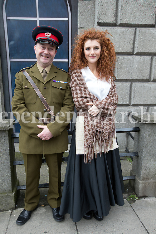 Gerrard Conway and Connlaith Pickering from the Tread the Boards drama group from Belfast were at Parnell Square after the wreath laying ceremony in The Garden of Remebrance on Saturday.<br />Photo: Tony Gavin 26/3/2016