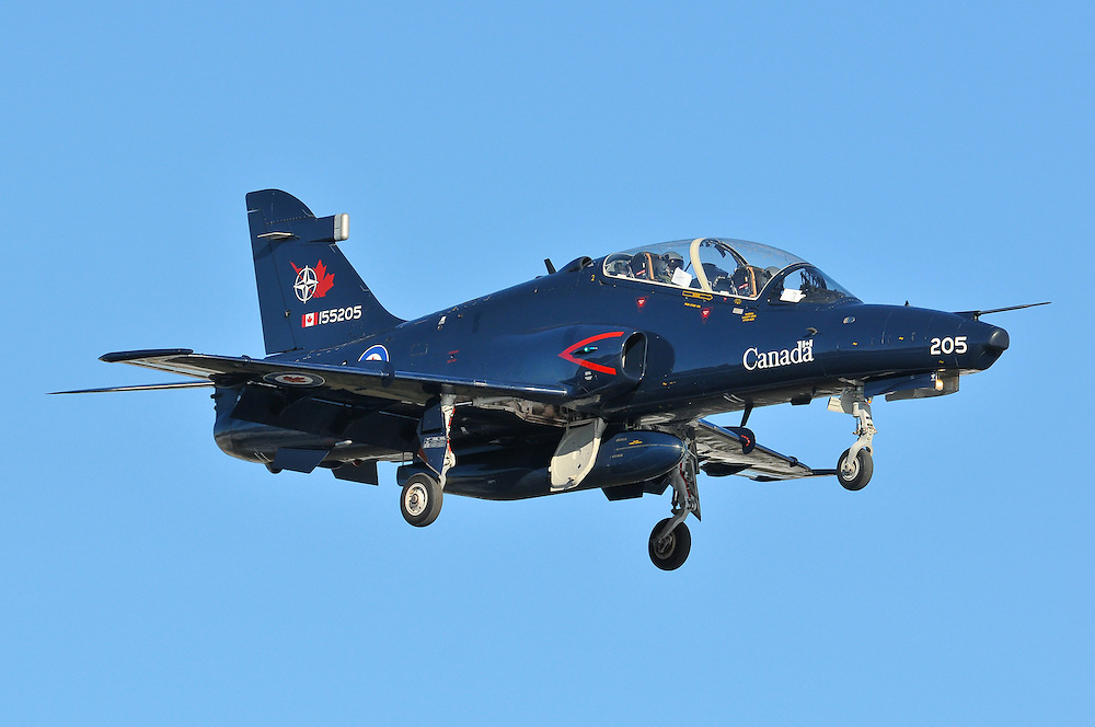 RCAF CT-155 Hawk flying at the Sourdough Rendezvous airshow.