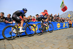 Sonny Colbrelli (ITA) Bahrain-Merida and Gianni Moscon (ITA) Team SKy climb the Paterberg for the last time during the 2019 Ronde Van Vlaanderen 270km from Antwerp to Oudenaarde, Belgium. 7th April 2019.<br /> Picture: Eoin Clarke | Cyclefile<br /> <br /> All photos usage must carry mandatory copyright credit (© Cyclefile | Eoin Clarke)
