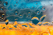 An abstract image done in micro photography with strong blues and yellow.