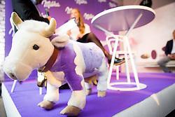 Cow toy Milka during Milka press conference, on October 3, 2017 in Lolita Cake Shop, Ljubljana, Slovenia. Photo by Vid Ponikvar / Sportida