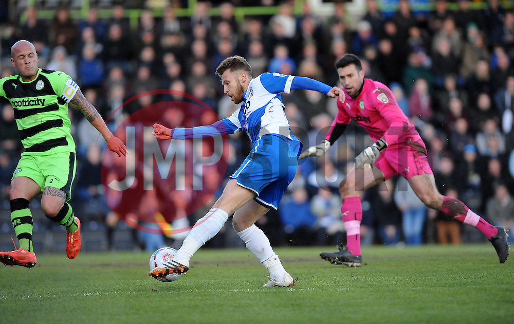 Bristol Rovers' Matty Taylor gets tha first goal - Photo mandatory by-line: Neil Brookman/JMP - Mobile: 07966 386802 - 29/04/2015 - SPORT - Football - Nailsworth - The New Lawn - Forest Green Rovers v Bristol Rovers - Vanarama Football Conference