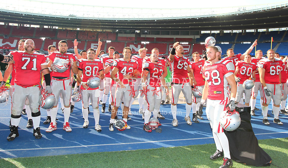 15.07.2011, Ernst Happel Stadion, Wien, AUT, American Football WM 2011, Austria (AUT) vs Australia (AUS), im Bild team austria after the win // during the American Football World Championship 2011 game, Austria vs Australia, at Ernst Happel Stadion, Wien, 2011-07-15, EXPA Pictures © 2011, PhotoCredit: EXPA/ T. Haumer