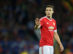 MANCHESTER, ENGLAND - Tuesday, August 18, 2015: Manchester United's Matteo Darmian in action against Club Brugge during the UEFA Champions League Play-Off Round 1st Leg match at Old Trafford. (Pic by David Rawcliffe/Propaganda)