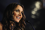 GOLD COAST, AUSTRALIA - JULY 29:  Natalie Gruzlewski  speaks on stage at the Wanda Ridong Gold Coast Jewel immersive experience centre at the Hilton Hotel on July 29, 2015 on the Gold Coast, Australia.  (Photo by Matt Roberts/Getty Images for Wanda Ridong)