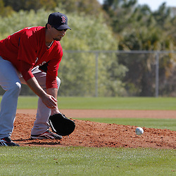 February 19, 2011; Fort Myers, FL, USA; Boston Red Sox starting pitcher Josh Beckett (19) during spring training at the Player Development Complex.  Mandatory Credit: Derick E. Hingle