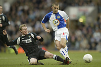 Photo: Aidan Ellis.<br /> Blackburn Rovers v Manchester City. The FA Cup. 11/03/2007.<br /> City's Michael Ball tackles Rovers David Bentley
