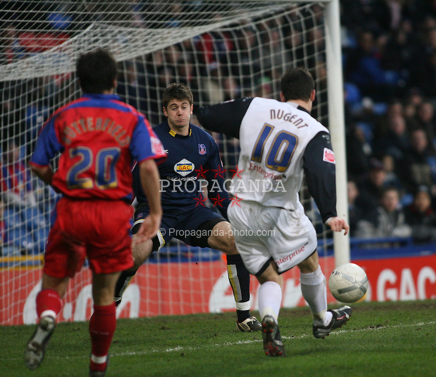 London, England - Saturday, January 27, 2007: Crystal Palace's keeper Scott Flinders cannot stop Preston North End's David Nugent scoring the first goal during the FA Cup 5th Round match at Selhurst Park. (Pic by Chris Ratcliffe/Propaganda)