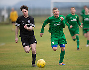 Cannon Fodder (black) v Hilltown Hotspurs (green) in the Dundee Saturday Morning Football League at University Grounds, Riverside, Dundee, Photo: David Young<br /> <br />  - © David Young - www.davidyoungphoto.co.uk - email: davidyoungphoto@gmail.com