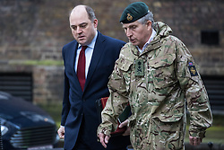 London, UK. 28 January, 2020. Ben Wallace, Secretary of State for Defence, and General Sir Nick Carter, Chief of Defence Staff, arrive at 10 Downing Street for a National Security Council meeting convened to finalise the role of Chinese multinational technology company Huawei in the construction of the UK's 5G digital network.