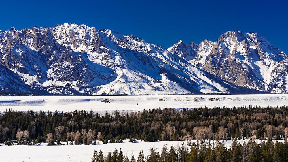 Mount Moran in winter, Grand Teton National Park, Wyoming USA