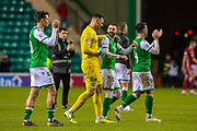 Martin Boyle of (#10) Hibernian FC is congratulated by Ofir Marciano (#1) of Hibernian FC after the final whistle of the Ladbrokes Scottish Premiership match between Hibernian FC and Aberdeen FC at Easter Road, Edinburgh, Scotland on 7 December 2019.