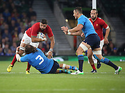 Scott Spedding (France's full back) getting tackled by Martin Castrogiovanni (Italy's prop) during the Rugby World Cup Pool D match between France and Italy at Twickenham, Richmond, United Kingdom on 19 September 2015. Photo by Matthew Redman.