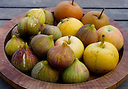 Figs, apples poolside at Urla